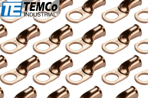 """50 Lot 1 AWG 1//2/"""" Hole Ring Terminal Lug Bare Copper Uninsulated Gauge"""