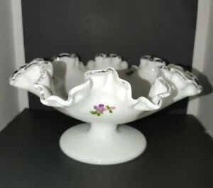 Fenton-Silver-Crest-Violets-in-the-Snow-4-034-Footed-Compote-Bowl-unsigned-unmarked
