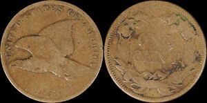 1858-SL-Flying-Eagle-Cent-US-Type-OLD-Copper-Nickle-Small-Letters-Philadelphia