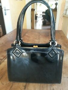 Image Is Loading Handbag Polish Black Vintage 60 Patent