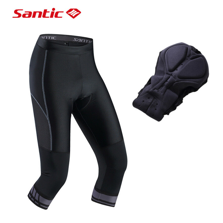 Santic Men's Cycling Shorts 4D Coolmax Padded Bicycle Bike 3 4 Pants M-3XL