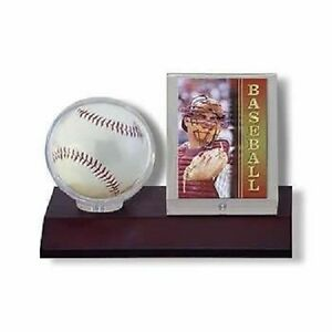 Ultra-Pro-Wood-Base-Ball-amp-Card-Holder-Dark-Wood-Wooden-Baseball-Display-Case
