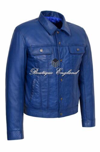 pour Trucker en cuir Bleu Classic Veste homme qR1UZ