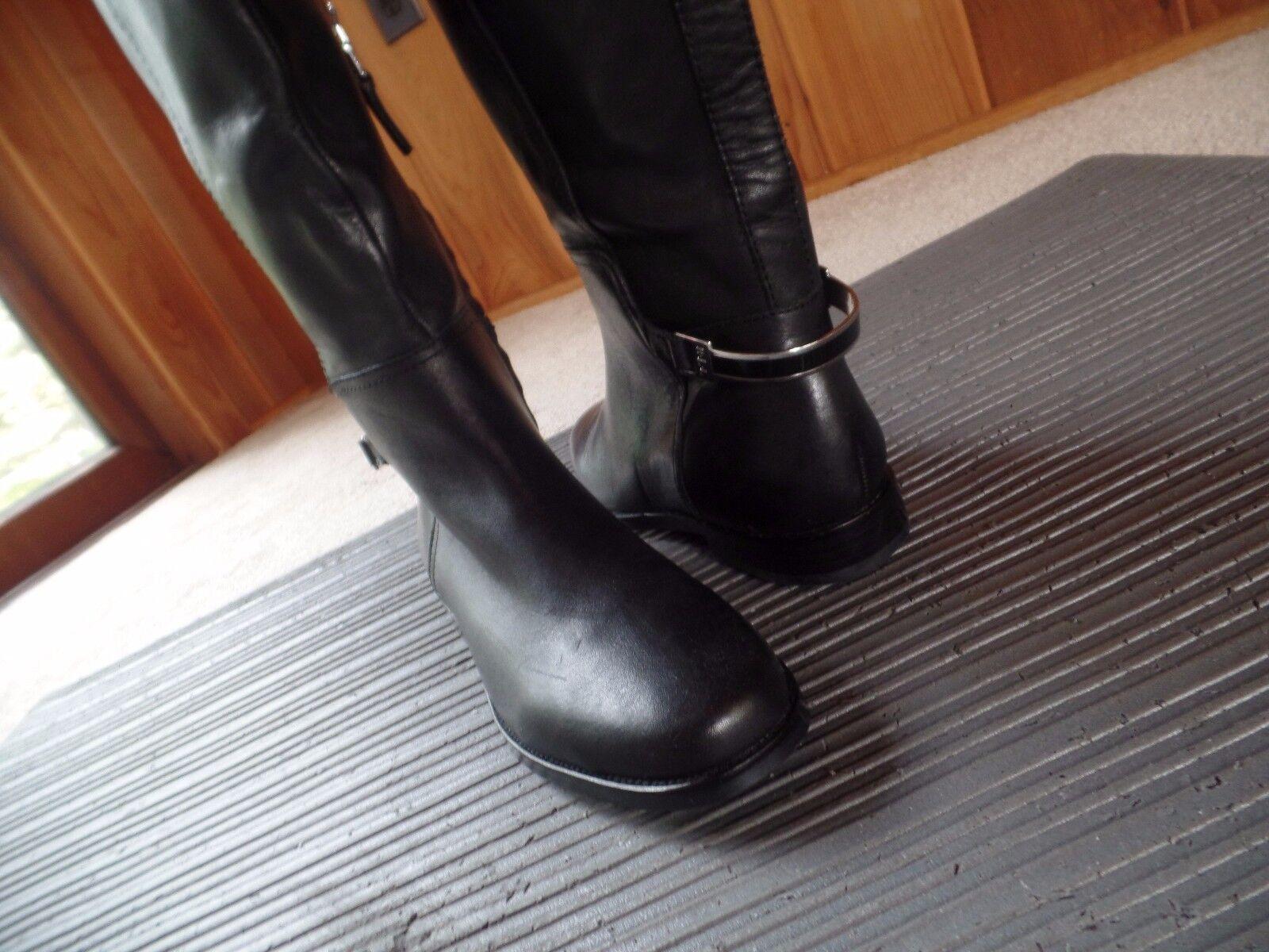 New Ralph Lauren Lauren Lauren Berna Vachetta Tall Boots Black Leather Size 8 US  279 bf3590