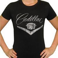 Vintage Gm Cadillac Logo Women's Black T-shirt Retro Kustom Kulture Car Shirt