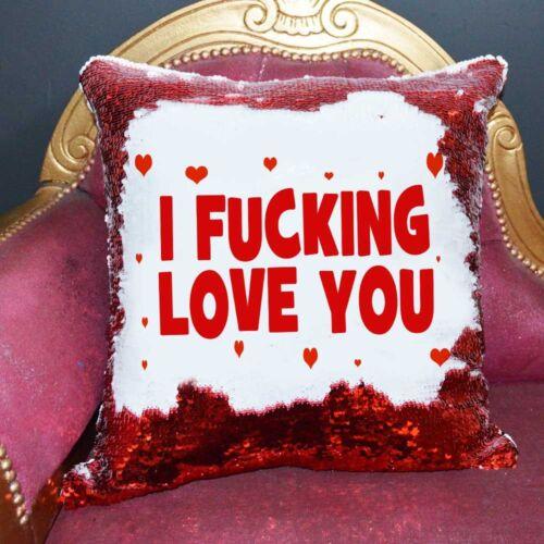 I F*cking Love You Sequin Cushion Magic Reveal MermaidChristmas