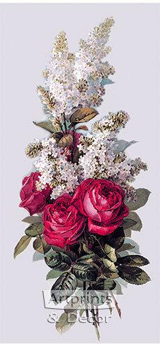 Roses and Lilacs by Paul de Longpre Art Print of Vintage Art