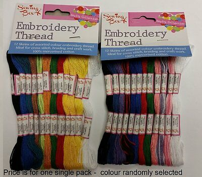 12 X SKEINS EMBROIDERY THREAD ASSORTED COLOURS 100% COTTON CROSS STITCH FLOSS101