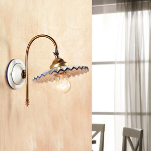 Lampada parete applique ceramica ottone classico rustico - Applique per bagno classico ...
