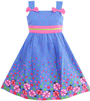 Sunny Fashion Girls Dress Blue Bug Pink Dot Children Clothing Size 2-8 NWT