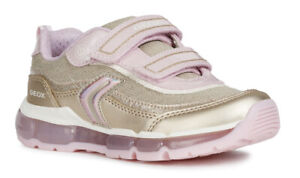 b88e253cb463 Geox J Android G A Girls Platinum/Pink Light Up Trainers - 100 ...