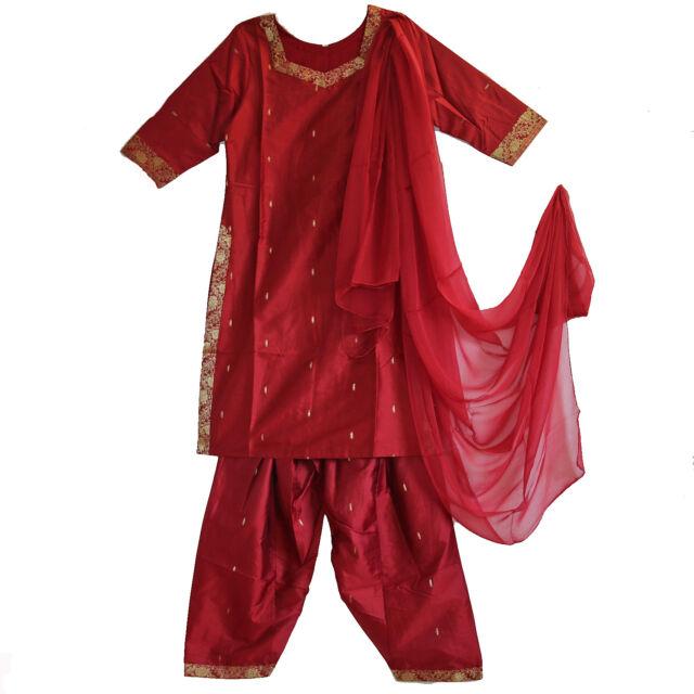 Salwar Kameez avec châle Chiffon 3 pièces 40 42 Inde Bollywood Sari Costume R