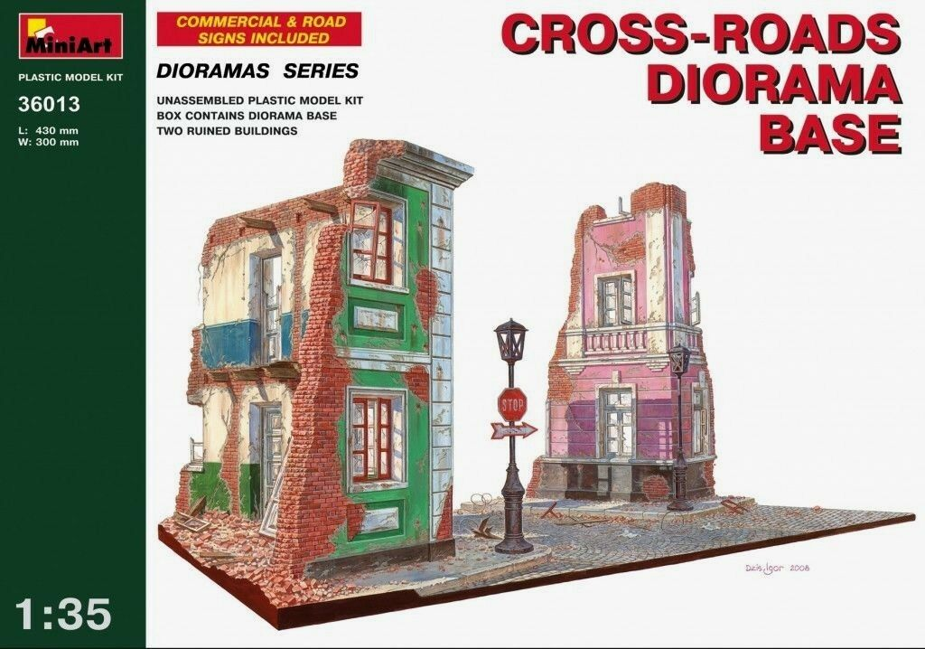 Miniart 1 3 5 Cross-Roads Diorama Kit Modello