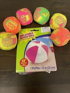 6 Water Splash Ball Toys + FREE BEACH BALL Pool Bath Beach Games Toy Bundle