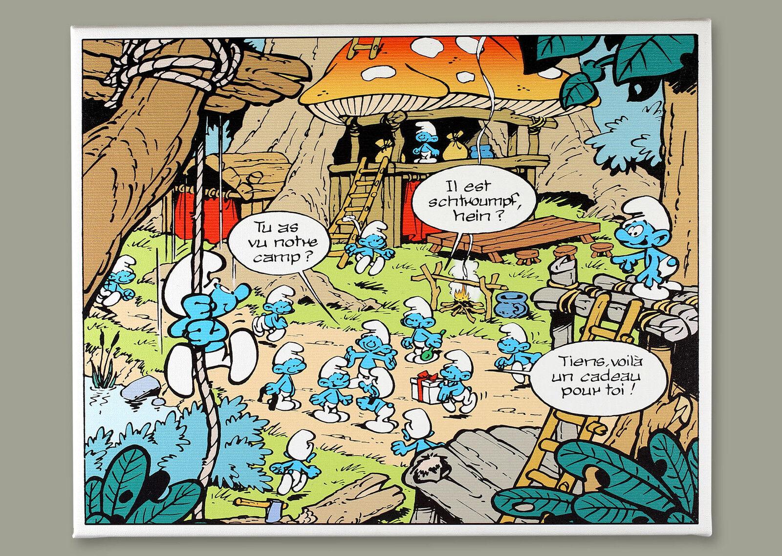 The smurfs  the camp-printed toile on  bois frame  vente discount en ligne