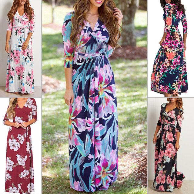 Women Summer Boho Bohemia Floral 3/4 Sleeve Dress Beach Waist Tightening Casual