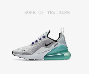 competitive price c570e c69e8 Details about Nike Air Max 270 Pure Platinum Hyper Jade White Black Kids  Boys Girl Trainers