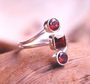 Silberring-56-Granat-Handarbeit-Silber-Ring-Modern-Schlicht-Rot-Verspielt-Glanz