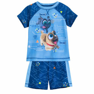 Girls Puppy Dog Pals Rolly /& Bingo Pajamas 3 Pc Set Tops /& Short  4T 5T NWT