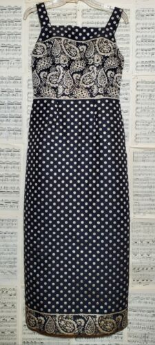 Vintage 1970s Sleeveless Polyester Metallic Paisle