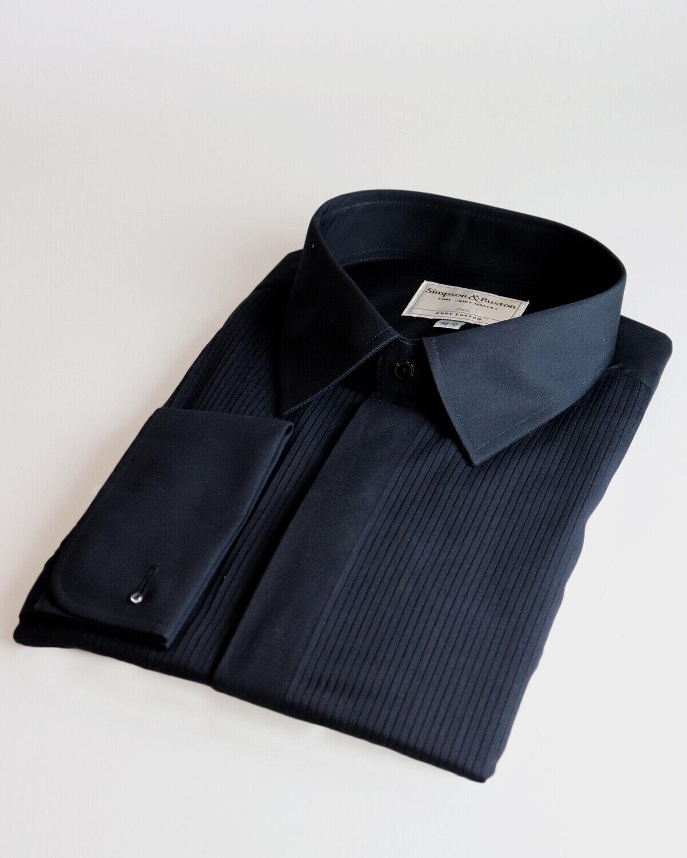 Simpson & Ruxton Slim Fit Regular Collar Evening Party Luxury Fancy Dress Shirt.