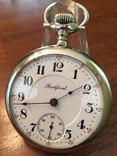 "Scarce 18s Rockford 1908 "" Winnebago "" Grade 205 RR Pocket Watch Elk Case"