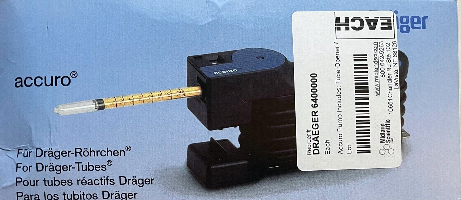 Draeger Accuro Pump 6400000 For Gas Detection Tubes Sampling