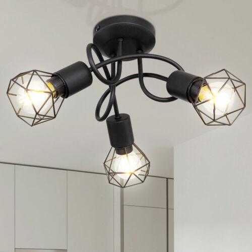 Vintage Decken Lampe schwarz Wohn Zimmer Beleuchtung Käfig Spot Rondell Leuchte
