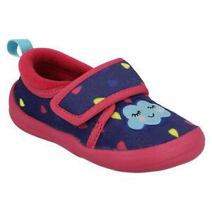Clarks Cuba Elle Infant Girls Kids DOODLES slippers House shoes Navy Red Hearts