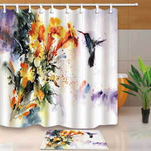 Natural leaves green leaf Shower Curtain Bathroom Fabric /& 12hooks 71*71inches