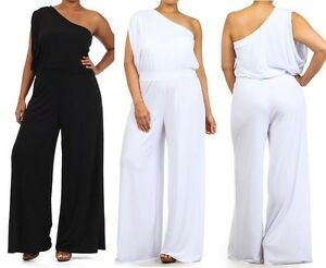 Plus Size One Shoulder Wide Leg Dress Jumpsuit Palazzo Pants Suit ...