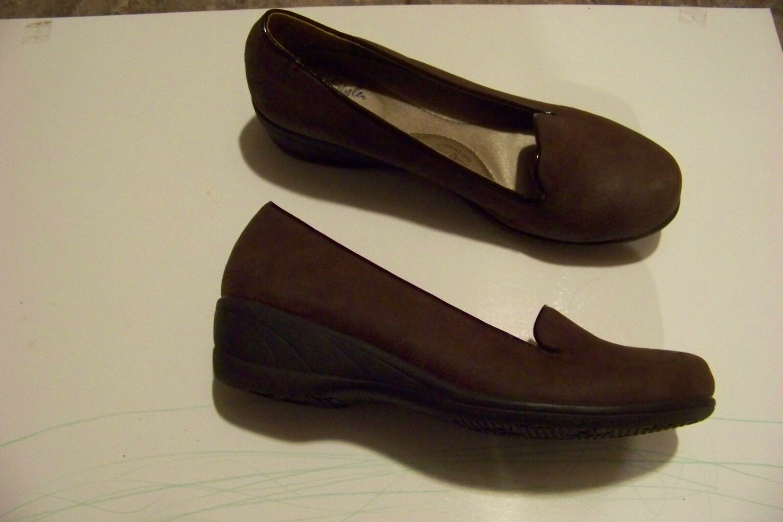 womens soft style brown heels fabric slip on wedge heels brown shoes size 8 0fac35