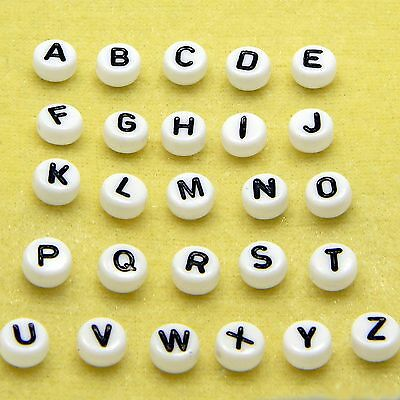 Lot of 30 White & Black Alphabet Plastic Acrylic Coin Beads Choose Your Letter
