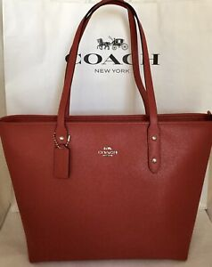COACH-F58846-Crossgrain-Leather-City-Zip-Top-Tote-SV-Bright-Cardinal-Handbag-NWT
