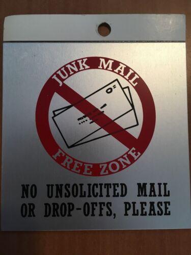 "JUNK MAIL FREE ZONE SIGN PEEL /& STICK 3.5/"" X 3.5/"""