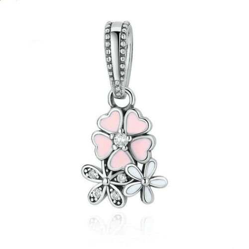 European 1pcs 925 Silver CZ Charm Beads Pendant Fit  Bracelet Necklace Chain