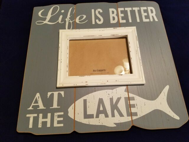 Rustic Blue White Pier 1 Imports Life Is Better At The Lake 5x7