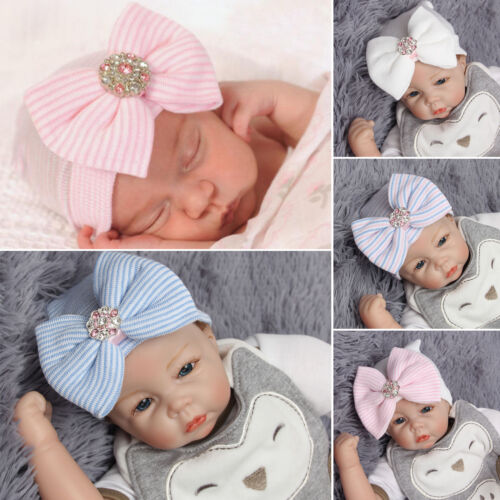 Newborn Baby Infant Child Hat With Crystal Bow Knot Cap Soft Sweet Beanie Warmer