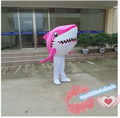Pink Shark Mascot Costume adult size fancy dress Cosplay for festival advertisin