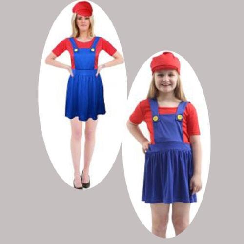NEW Ladies /& Kids Super Mario Plumber Fancy Dress Women 90s Fancy Dress OUTFITS