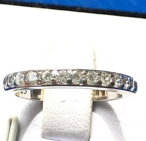 Matching-band-Real-925-Sterling-Silver-Cubic-Zirconia-Wedding-Band-Sz-4-11