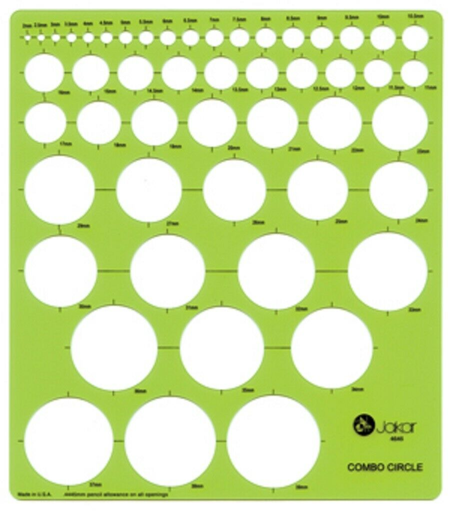 Jakar Professional Metric Circle Template Stencil 2-34 mm with Ruler Edge 4675
