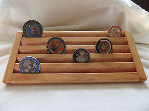 Military Challenge Coin Chips Wood Display Holder 5 Tier