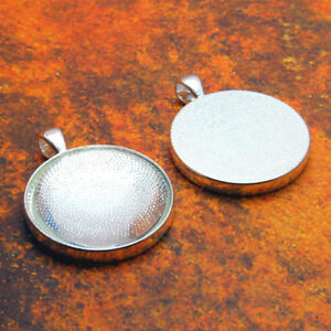 10 QTY - PRO 30MM ROUND SHINY SILVER Photo Pendant Trays Bezel Jewelry & GLASS