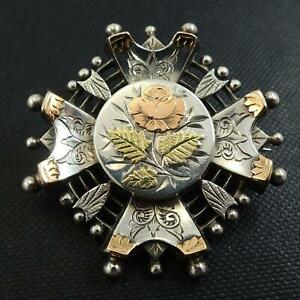 Antique-Silver-Yellow-and-Rose-Gold-Sweetheart-Brooch-Circa-1880-90s