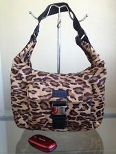 USED Authentic RALPH LAUREN Plaid Nylon Hobo Bag - Leopard Brown