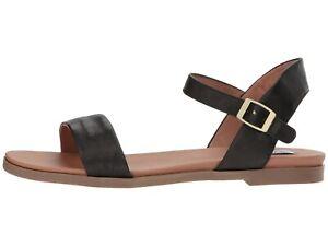 ea814e1e1 Steve Madden DINA BLACK Women s Casual Leather Ankle Strap Flat ...