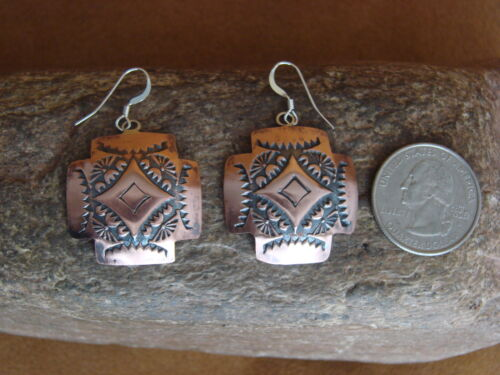 Navajo Indian Hand Stamped Hammered Copper Earrings by Curley