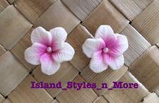 "Hawaiian Hibiscus Flower Fimo Fashion Jewelry Post Earring WHITE PINK 0.5"" inch"