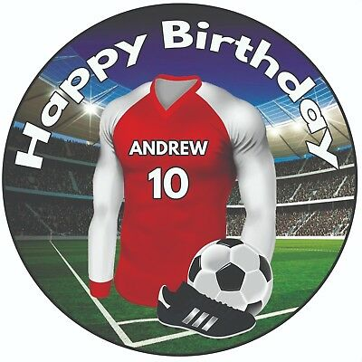 "Personalised Football Shirt 8/"" Round Icing Cake Topper Birthday Arsenal Colours"